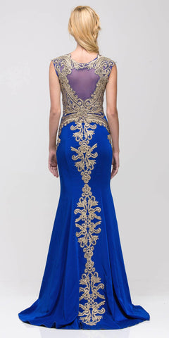 Boat Neck Embroidered Mermaid-Style Evening Gown Sleeveless Royal Blue