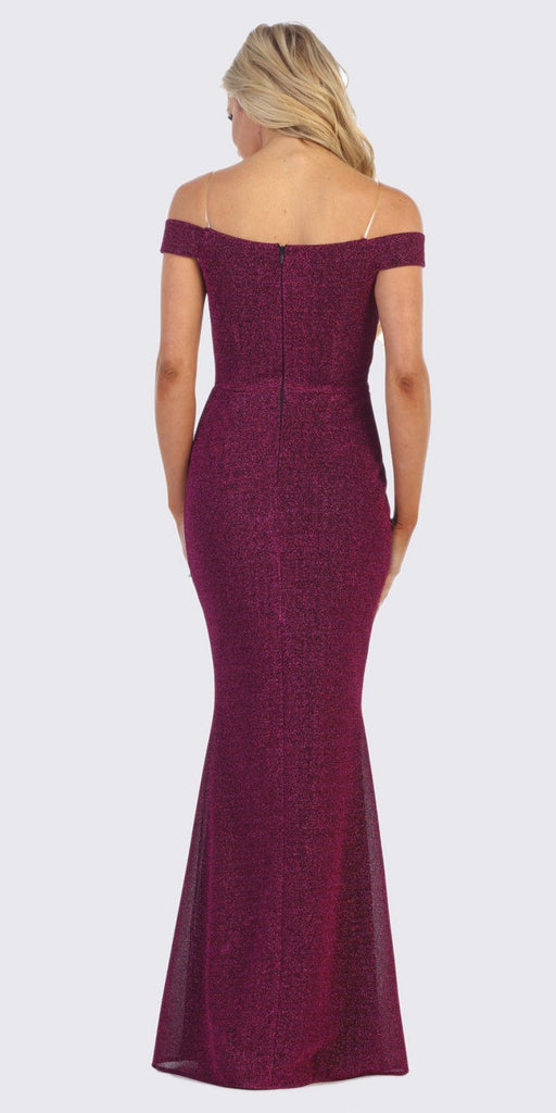 Celavie 6402 Off-Shoulder Mermaid Style Long Formal Dress Burgundy