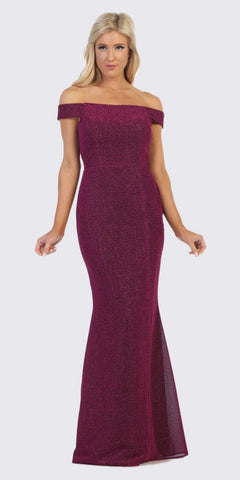 Off-Shoulder Mermaid Style Long Formal Dress Fuchsia