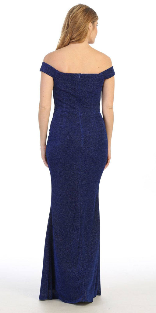 Celavie 6402 Off-Shoulder Mermaid Style Long Formal Dress Royal Blue