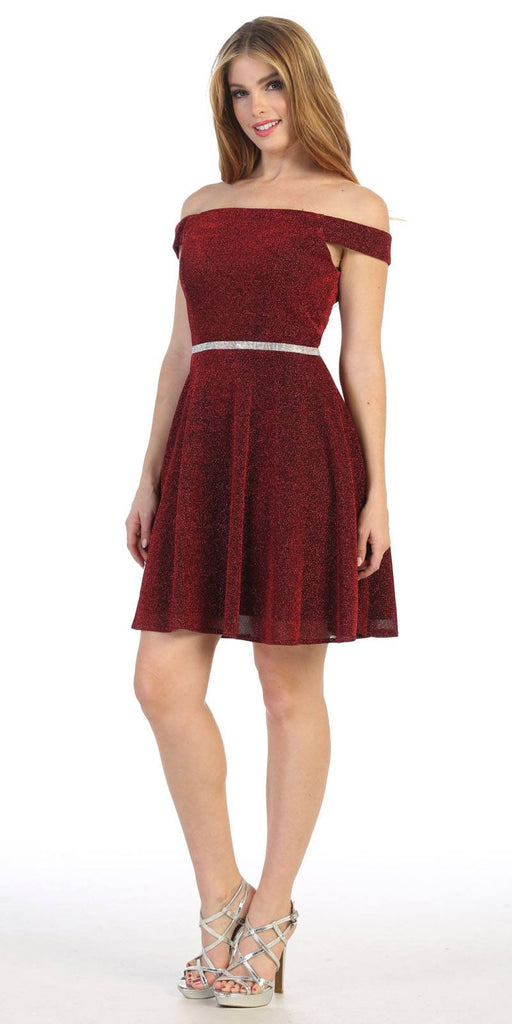 Burgundy Off-Shoulder Homecoming Short Dress