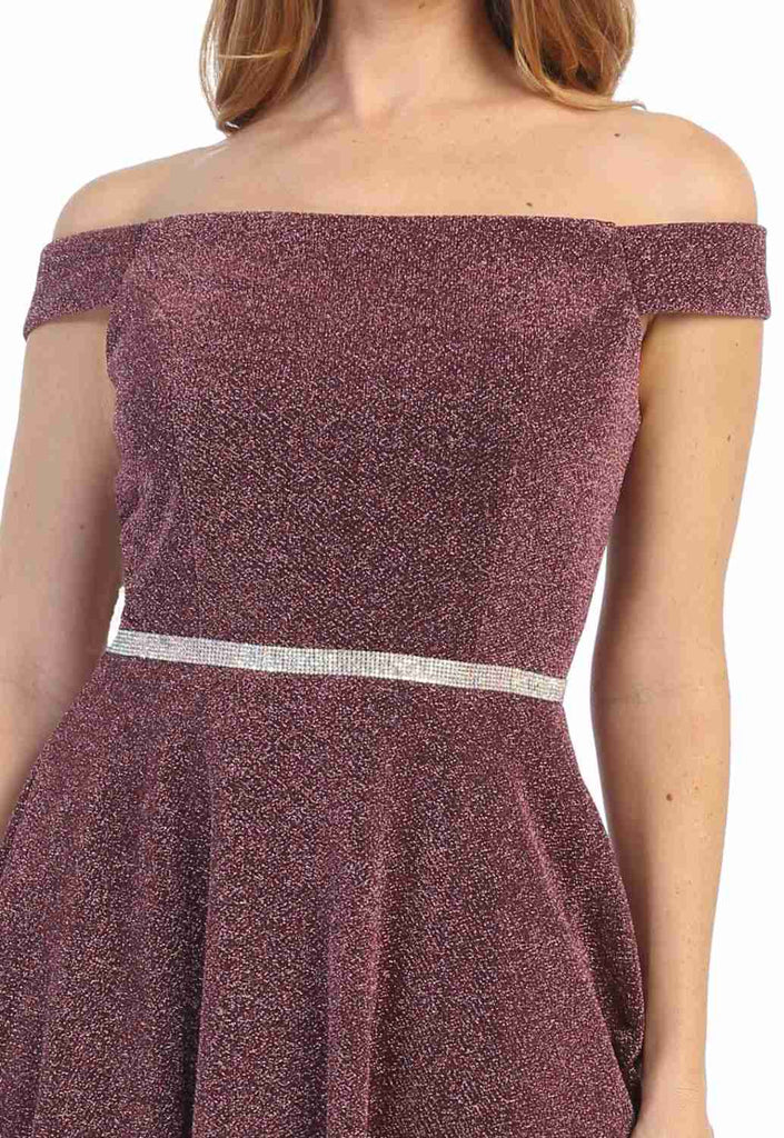 Mauve Off-Shoulder Homecoming Short Dress