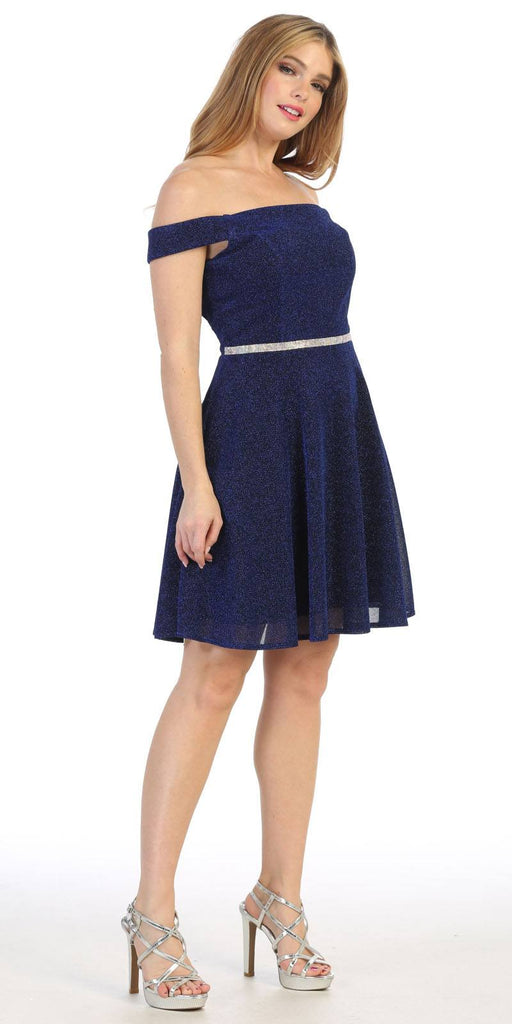 Royal Blue Off-Shoulder Homecoming Short Dress