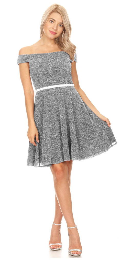 Silver Off-Shoulder Homecoming Short Dress