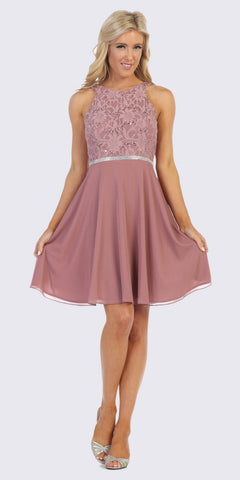 Embellished Waist Short Homecoming Dress Mauve
