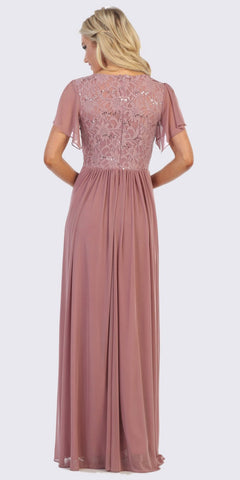 Mauve A-Line Long Formal Dress with Flutter Short Sleeves