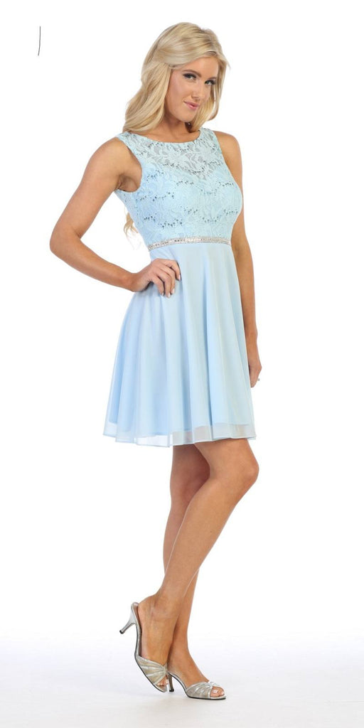 Baby Blue Lace Bodice Short Cocktail Dress Sleeveless