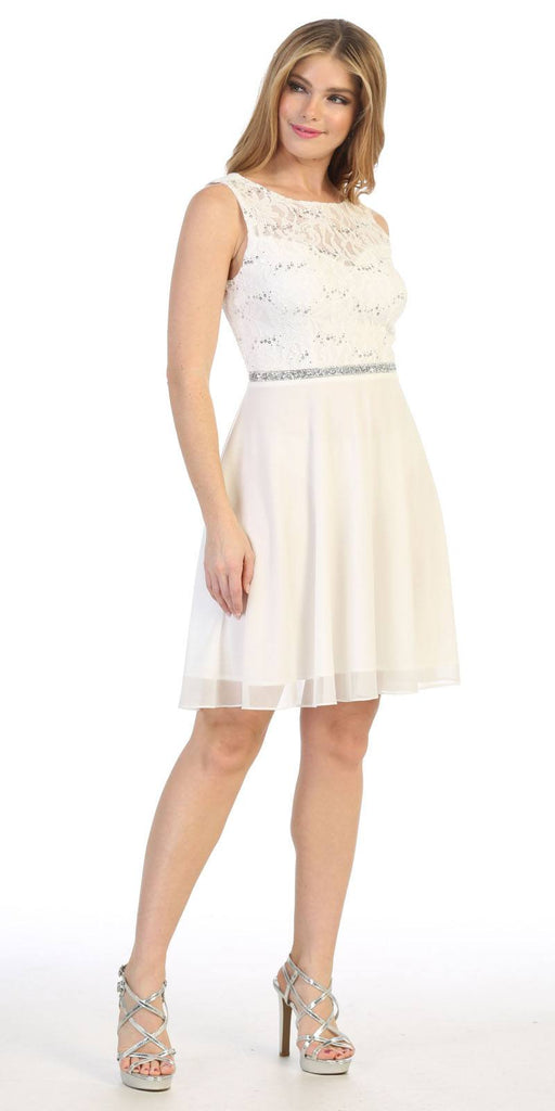 Celavie 6406 Off White Lace Bodice Short Cocktail Dress Sleeveless