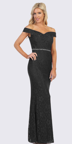 Black Off-Shoulder Mermaid Long Formal Dress