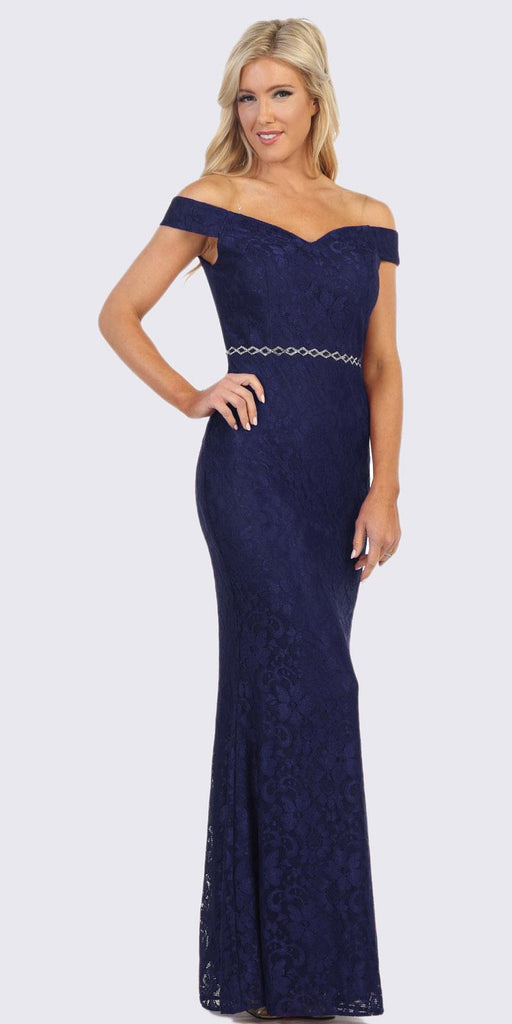Navy Blue Off-Shoulder Mermaid Long Formal Dress