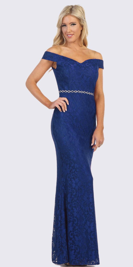 Royal Blue Off-Shoulder Mermaid Long Formal Dress