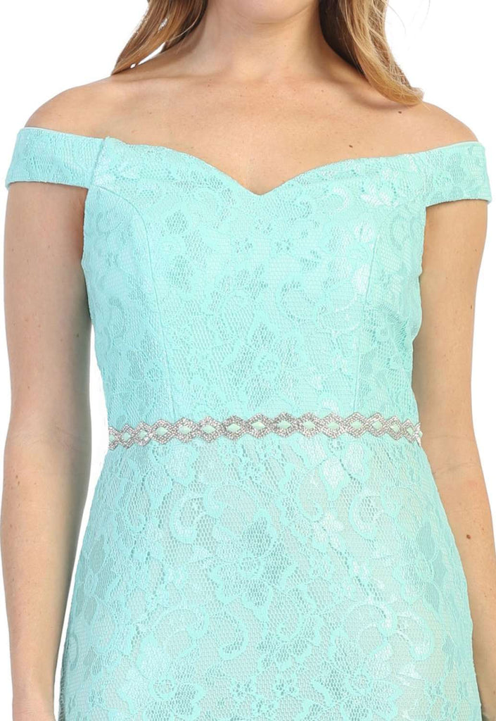 Celavie 6409 Mint Off-Shoulder Mermaid Long Formal Dress