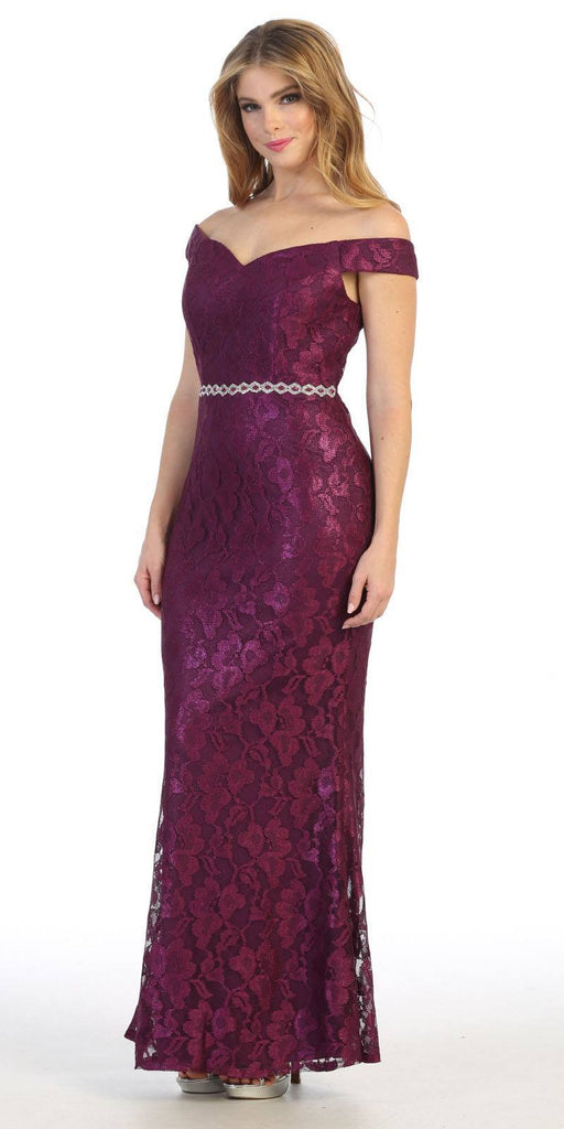 Celavie 6409 Plum Off-Shoulder Mermaid Long Formal Dress