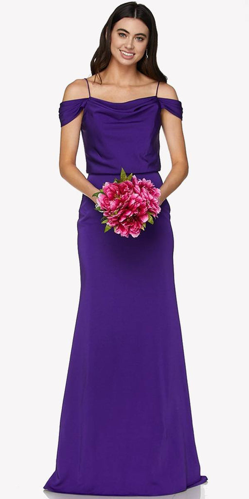 Purple Off Shoulder Long Bridesmaids Dress with Spaghetti Strap