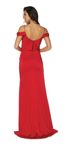 Red Off Shoulder Long Bridesmaids Dress with Spaghetti Strap