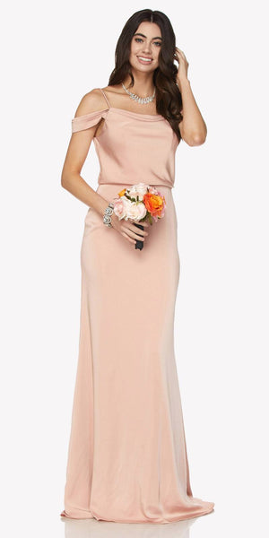 Dusty Rose Off Shoulder Long Bridesmaids Dress with Spaghetti Strap