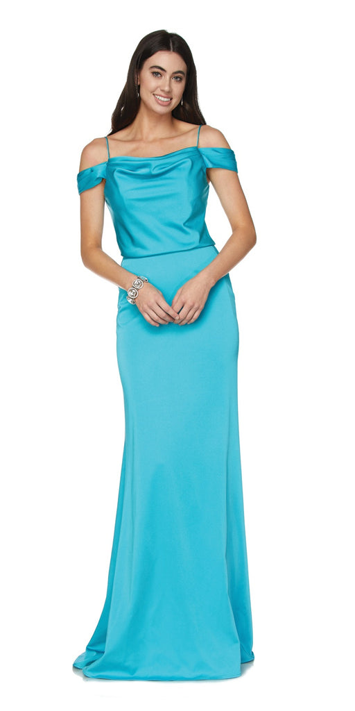 Turquoise Off Shoulder Long Bridesmaids Dress with Spaghetti Strap