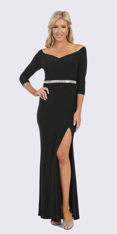 Black Quarter Sleeves Long Formal Dress with Slit