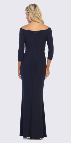 Navy Blue Quarter Sleeves Long Formal Dress with Slit