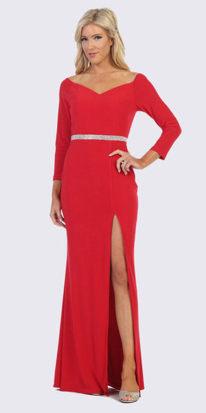 Red Quarter Sleeves Long Formal Dress with Slit