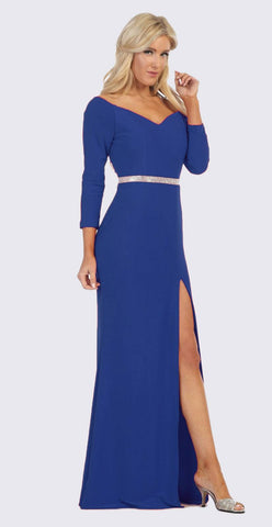 Royal Blue Quarter Sleeves Long Formal Dress with Slit