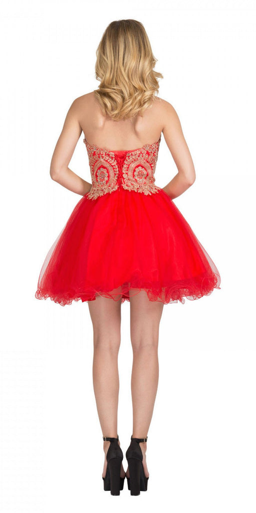 Starbox USA S6411 Strapless Neckline Applique Bodice Homecoming Dress Red/Gold Back View