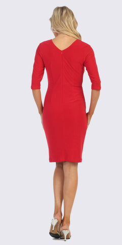Quarter Sleeved Short Formal Dress with Brooch Red