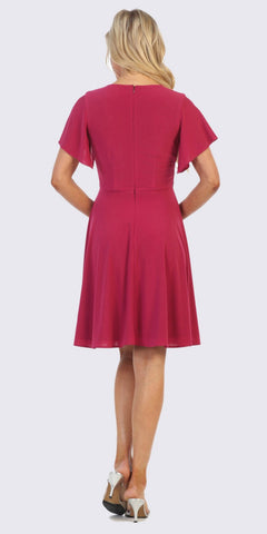 Fuchsia Embellished Waist Short Wedding Guest Dress