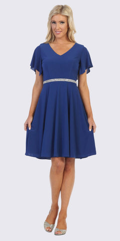 Royal Blue Embellished Waist Short Wedding Guest Dress