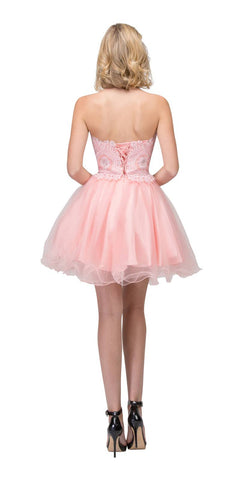 Starbox USA S6413 Strapless Poofy Homecoming Dress Blush Sweetheart Neckline Back View