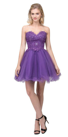 Starbox USA S6413 Strapless Poofy Homecoming Dress Purple Sweetheart Neckline