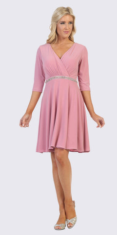 Mauve V-Neck Short Wedding Guest Dress V-Neck
