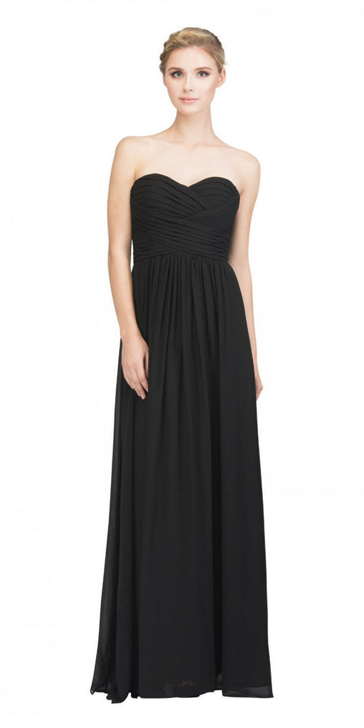 Starbox USA L6414 Black Strapless Pleated Bodice Long Bridesmaids Dress A-Line