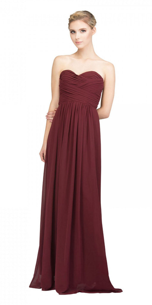 Starbox USA L6414 Burgundy Strapless Pleated Bodice Long Bridesmaids Dress A-Line