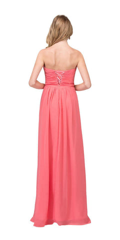 Starbox USA L6414 Coral Strapless Pleated Bodice Long Bridesmaids Dress A-Line Back View