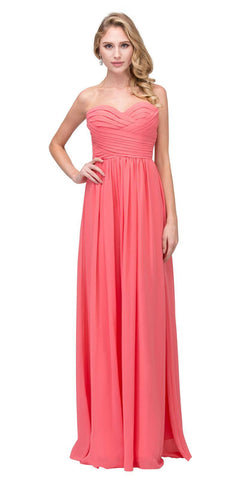 Starbox USA L6414 Coral Strapless Pleated Bodice Long Bridesmaids Dress A-Line