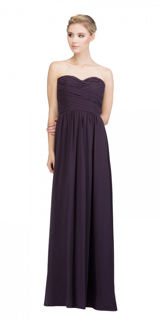 Starbox USA L6414 Eggplant Strapless Pleated Bodice Long Bridesmaids Dress A-Line