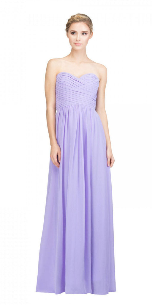 Starbox USA L6414 Lilac Strapless Pleated Bodice Long Bridesmaids Dress A-Line