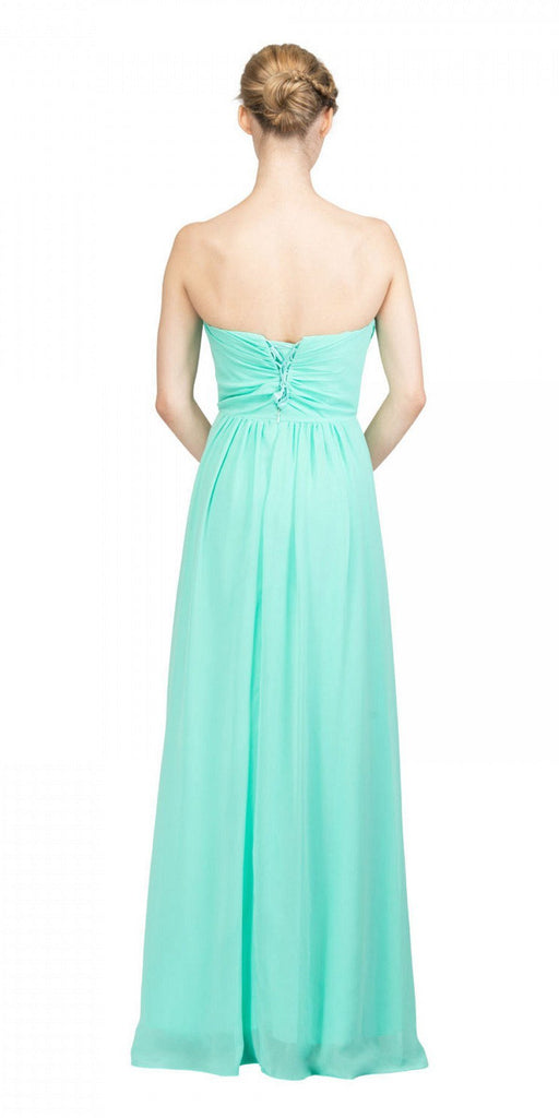 Starbox USA L6414 Mint Strapless Pleated Bodice Long Bridesmaids Dress A-Line Back View