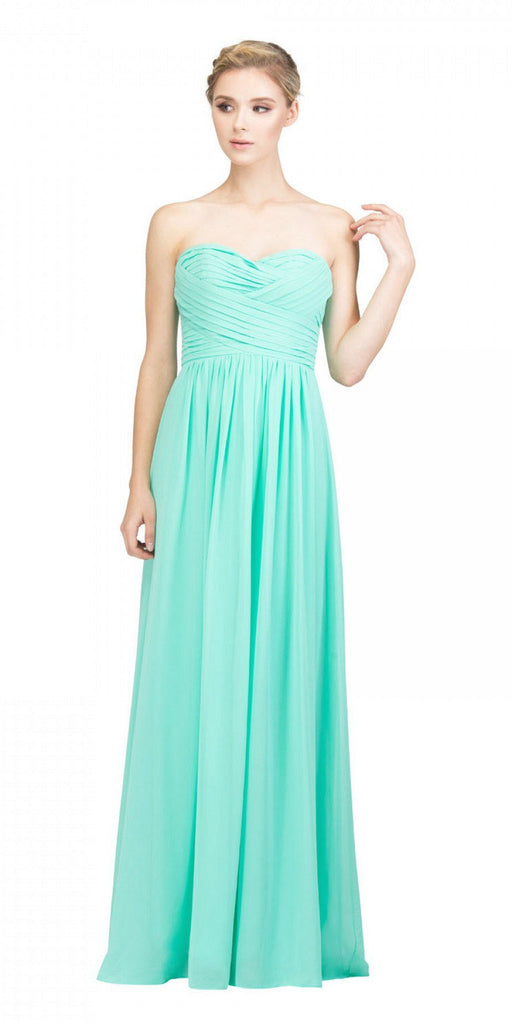 Starbox USA L6414 Mint Strapless Pleated Bodice Long Bridesmaids Dress A-Line