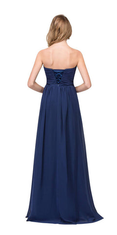 Starbox USA L6414 Navy Strapless Pleated Bodice Long Bridesmaids Dress A-Line Back View