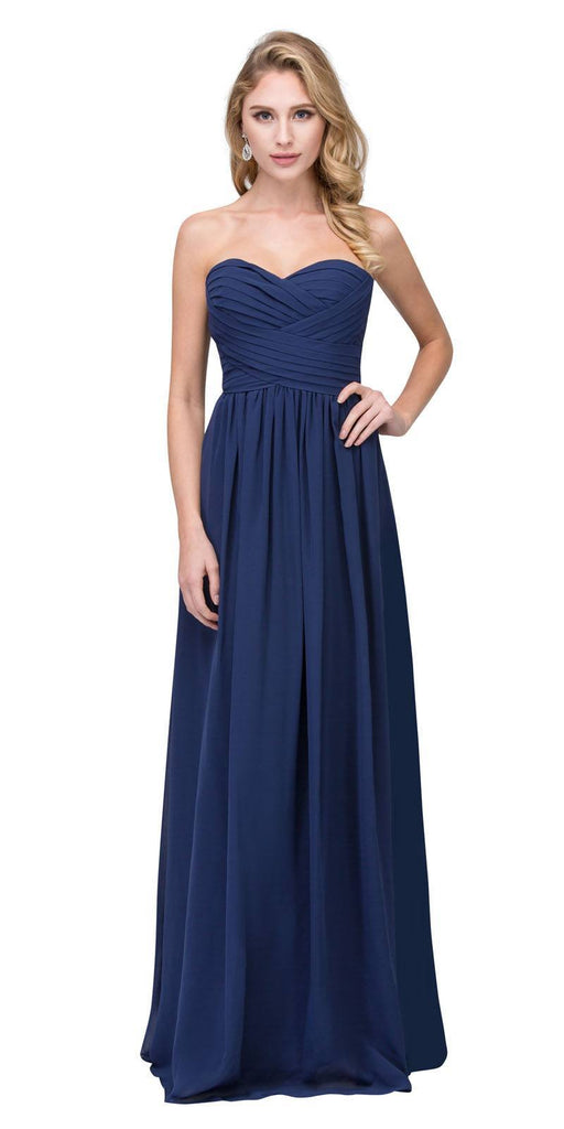 Starbox USA L6414 Navy Strapless Pleated Bodice Long Bridesmaids Dress A-Line