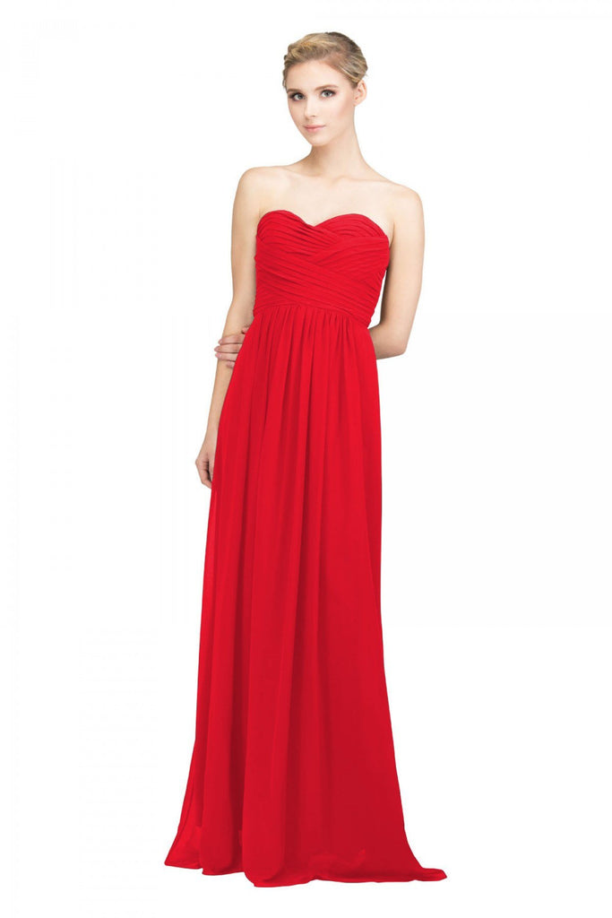 Starbox USA L6414 Red Strapless Pleated Bodice Long Bridesmaids Dress A-Line
