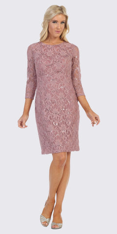 Quarter Sleeved Lace Wedding Guest Dress Mauve