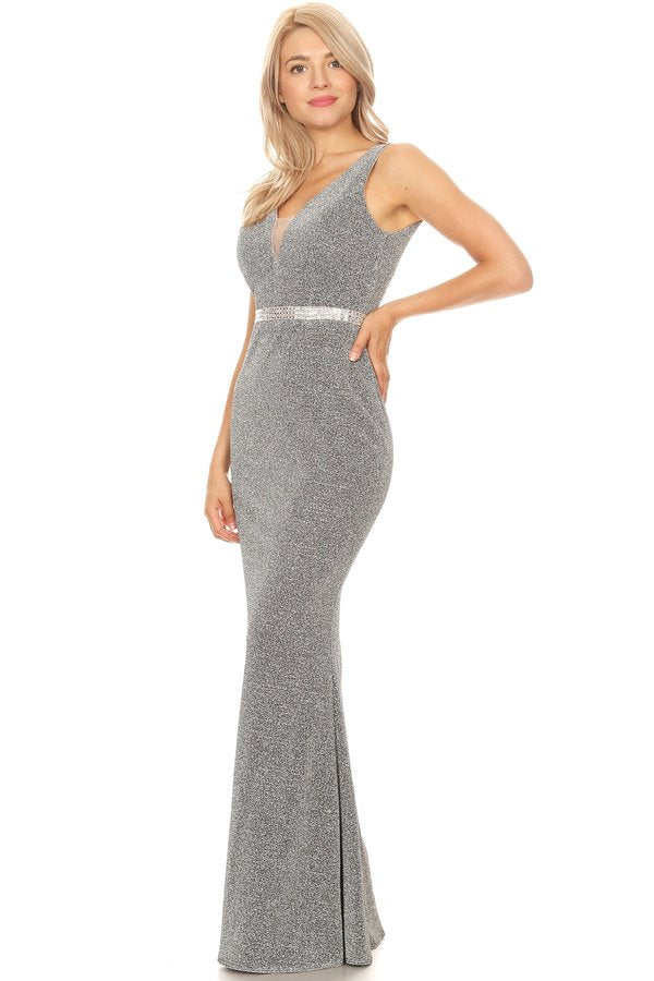 Silver Shimmering Fitted Long Prom Dress Sleeveless