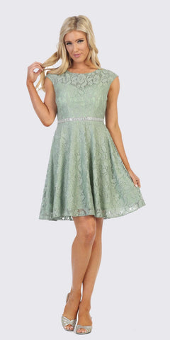 Cap Sleeved Sage A-Line Short Homecoming Dress