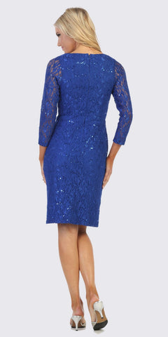 Royal Blue V-Neck Short Wedding Guest Dress