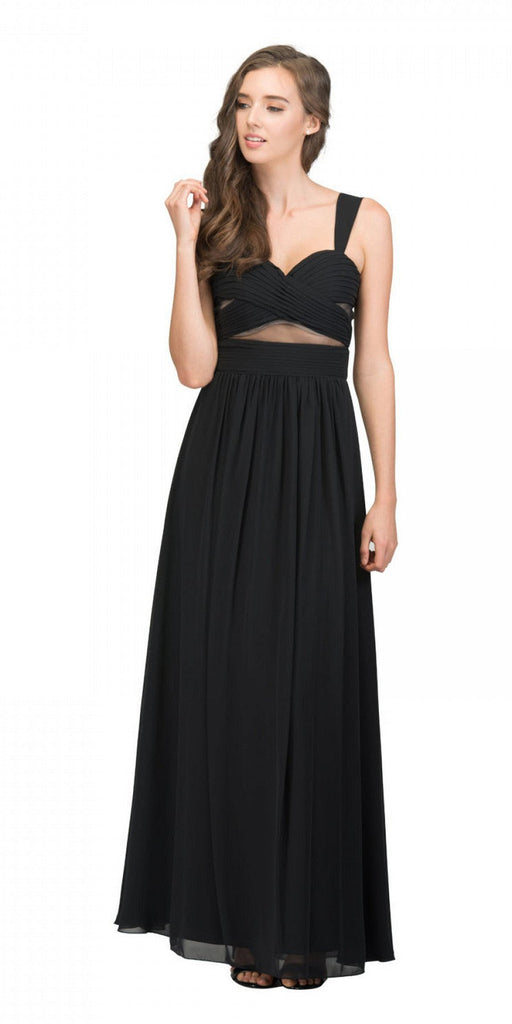 Star Box USA 6418 A-line Long Formal Dress Pleated Bodice Black