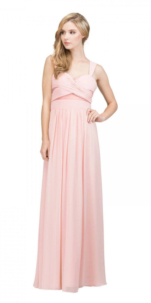 Star Box USA 6418 A-line Long Formal Dress Pleated Bodice Blush
