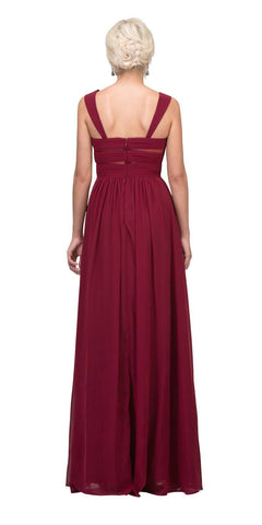 Star Box USA 6418 A-line Long Formal Dress Pleated Bodice Burgundy Back View